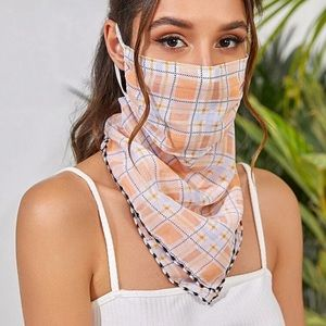Accessories - 🎉JUST IN! Orange Plaid Scarf Face Mask
